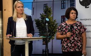 Alicja Kapica (M) oc h Malin Larsson (S) debatterade bland annat frågan om privata äldreboenden.
