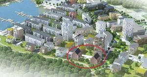 De inringade husen ska byggas av ETC Bygg, i fjärde etappen på Öster Mälarstrand.Illustration: Västerås stad