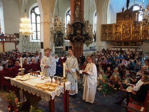 Bild från när Mikael Mogren välkomnas som biskop 2015. De åtta barnbiskoparna representerar stiftets åtta kontrakt. Foto: Åke Paulsson