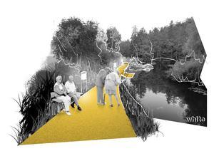 Promenadvägar med sittplatser vill arkitekterna se mer av längs Svartån. Bild: White arkitekter