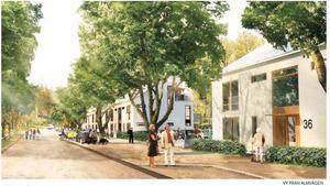 Så här kommer det att se ut på Almvägen i Gävle när de nya tvåvåningshusen står färdiga.