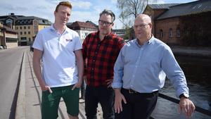 Anders Hagman, Mathias Björnerud och Erik Hansson arbetar på teknikföretaget Britts kontor i Falun.