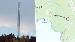 Masten mellan Malmsjön och Enhörnaleden är färdigbyggd. Den blev 54 meter hög. Bild: Hasse Holmberg/Scanpix & Karta: Södertälje kommun