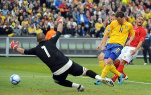Marcus Bergs första mål i landslaget innebar 4-0 mot Malta. Adam Ihse/ SCANPIX / TT /