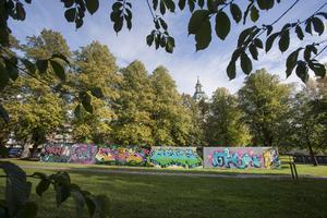 Under sommaren har en mycket större graffitivägg än den vid Länsmuseet funnits tillgänglig för alla att göra sina egna konstverk på.