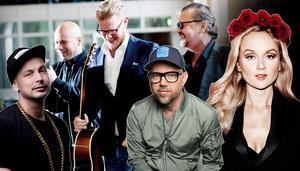 Petter, Sven-Ingvars, Tomas Andersson Wij och Anna Bergendahl är fyra av elva akter som arrangörerna nu presenterat till sommarens Skulefestival. Foto: Montage/pressbild