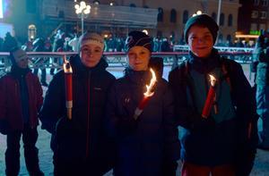 August Lilja, Max Svensson och Joel Nilsson tränar alla för Matfors SK. I framtiden vill de själva tävla i OS.