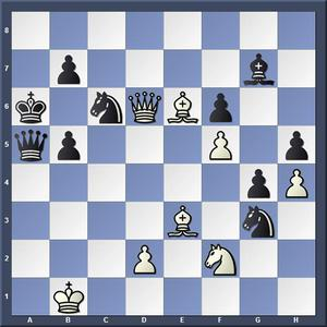 Lösning: 1.Dxc6+ bxc6 2.Lc8