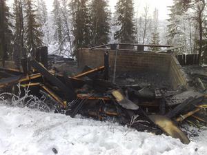 Timmerhuset brann ner till grunden.