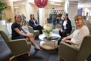 Emma Forsman, Johanna Nilsson, Jenny Berglund, Ulla-Carin Engel och deras kolleger har fått lokaler som säkert väcker avund hos andra kontorsanställda.