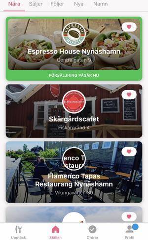 Än så länge har Flamenco Tapas, Espresso House, Skärgårdscaféet och OKQ8 anslutit sig till appen i Nynäshamn.
