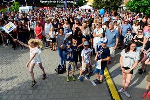 Flera hundra personer fanns på plats på torget under hyllningen av Elias Pettersson.