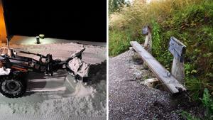 Sönderkörda bänkar är ett exempel på konsekvenserna av snöröjningen. Bilder: Hasse Holmberg/TT / Arkiv