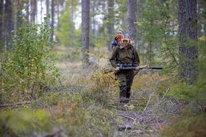 Carolin Ögren från Valbo bytte konståkning mot jakt. Här är hon ute och ser sig om i skogen tillsammans med tvåårige sonen Thure. Geväret är inte laddat vid tillfället.