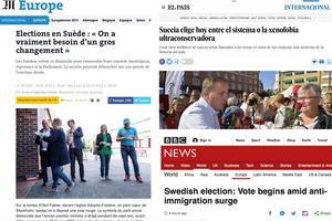 Franska Le Monde, spanska El Pais och brittiska BBC presenterar valet i Sverige som en av huvudnyheterna.