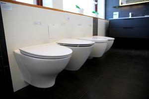 Vägghängda toaletter är populära när kunder ska helrenovera badrum. Ju slätare de är desto lättare blir de att rengöra.