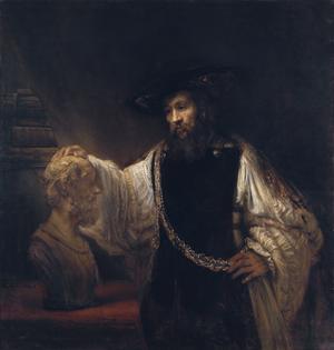 Aristoteles vid en byst föreställande Homeros. Målning av Rembrandt från 1653.