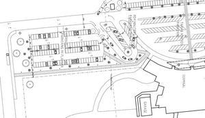 Den nya hyrbilsparkeringen byggs på en tom yta i närheten av terminalen. Till höger får den nya snabbparkeringen plats. Bild: Sundsvall Timrå Airport