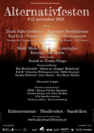 Affisch för Alternativfesten - ny kulturfestival i Sandviken. Bild: Pressbild.