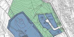 Det stora blå området är Falu Energi och vattens befintliga jordbearbetning. De mindre blå områdena är den nya industrimarken intill Ingarvsvägen.