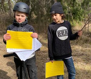 Rasmus och Elliott är två av de barn som bidragit till namninsamlingen i hopp om att barns behov lyfts fram i stadsplaneringen.
