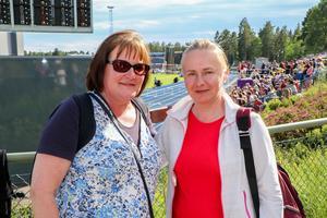 Krisi Könönen och Eija Rönkkö från Finland var här för att kolla på stavhoppen, slägga och Spjut.
