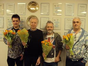 Distriktsmästerna i lag Dong, från vänster Linus Jorner, Rolf Selander, Adam Winberg och Michael Runfors.