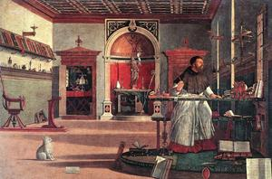 Augustinus i sitt arbetsrum. Målning av Vittore Carpaccio från 1502.