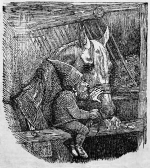 Den danske konstnären  Johan Thomas Lundbyes gestaltningar av tomten har betytt mycket för hur vi föreställer oss dem i modern tid. Här en tomteskildring från 1842.