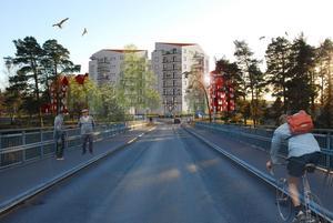Den illustration som visar hur det kanske kan komma att se ut vid Åkerö brofäste. (Bild: Arcum)
