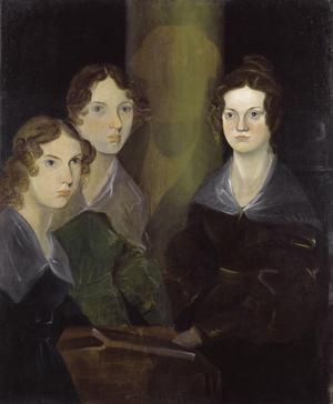 Emily Brontë (i mitten) tillsammans med systrarna Anne och Charlotte. Målning av hennes bror Branwell Brontë från 1835.