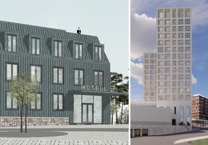 De planerade hotellen för Torekällberget och Marenplan.
