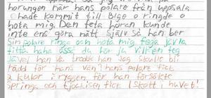 Bild från polisens förundersökning. En hemlig lapp som hittades på häktet, tycks beskriva skotten i Kvarnsveden. Enligt häktespersonal kan den komma från den häktade 23-åringen.
