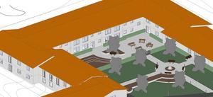 Här är en annan vy över hur Solhöjden och innergården kan se ut. Skiss: Bärkehus