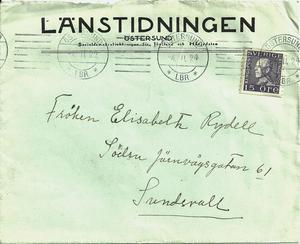 Ett av Astrids brev till bästa väninnan Elisabeth Rydell skickat 1924 när Astrid jobbade vid Länstidningen.