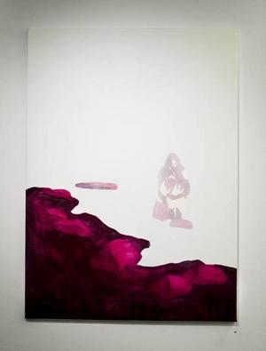 """""""Dit där ingen ser henne"""".  Kvinna i """"ofärdigt"""" landskap i en målning av Anna Abrahamsson."""
