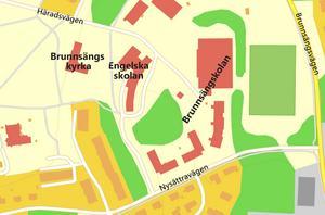 Trafik till Brunnsängskolan dirigeras in till kyrkans parkering, berättar skribenten. Karta: Tomas Karlsson