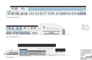Tidigare skisser på Rimbo nya skola, Kulturskolan och Kulturscenen. Dessa är dock inte aktuella längre och de senaste ritningarna vill samhällsbyggnadsavdelningen inte gå ut med i nuläget.