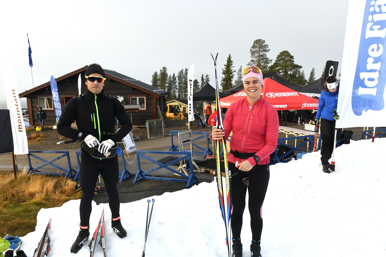 Simon Hallström, Idre och Jenny Solin, redo för längdpremiären på Idre Fjäll.