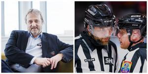 Hockeyallsvenskans ligachef Sonny Lundwall bekräftar att hockeyallsvenskan redan till hösten kan få ett fyrdomarsystem tack vare ett samarbete med SHL.  Bild: Bildbyrån