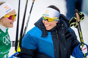 Charlotte Kalla tog sin fjärde medalj under OS i Pyeongchang när hon, tillsammans med Stina Nilsson, vann silver i sprintstafetten. Bild: Petter Arvidson/Bildbyrån
