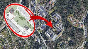 Telge bostäder vill bygga två nya punkthus med lägenheter på sin mark i Fornbacken där det idag är markparkering och grönytor.Karta: Google mapsSkiss: Telge bostäderMontage: LT