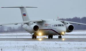En Antonov  An-148, samma flygplanstyp som det som kraschade utanför Moskva. Bild:Mitya Aleshkovsky/TT/SCANPIX