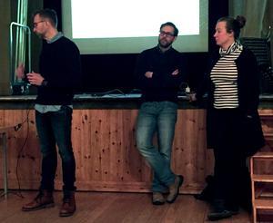 Arbetsgruppen presenterade sitt arbete och sina tankar, från vänster Andreas Gärdsback, Fredrik Svensson och Linda Gimle.Foto: PRIVAT