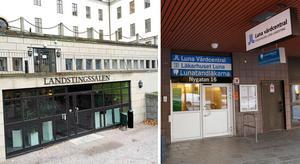 Landstingshuset på Kungsholmen i Stockholm och Läkarhuset Luna på Nygatan där Hjärt- och kärlcentrum ligger.