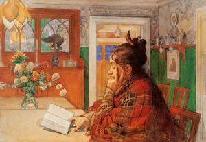 """Carl Larssons målning """"Karin läser""""."""