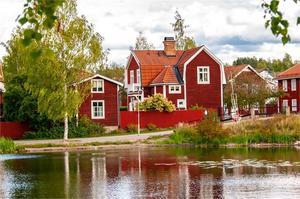 Åtråvärd adress i kulturkvarteret Östanfors. Hus anno 1900 men ån som närmaste granne. Foto: Thomas Isaksson.