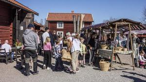 Flera Fagerstabor var sugna på att se vad som såldes på marknaden.