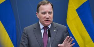 Statsminister Stefan Löfven (S) håller pressträff i regeringskansliet.