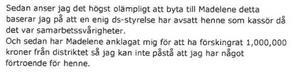 Utdrag ur Jenny Nordahls mejl till Kaj Löwenhamn, som då var sammankallande för SD Dalarnas valberedning.